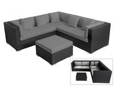 OUTFLEXX Loungemöbel-Set, schwarz aus Polyrattan-Geflecht, Loungeecke für 6 Personen, wasserfeste Kissenbox, Lounge Möbel
