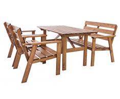 Ambientehome Garten Loungegruppe Sitzgruppe Essgruppe Massivholz HANKO, braun, 4-teiliges Set