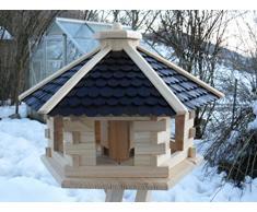 Maxi Vogelhaus XXXL Neu mit eckigem Eingang Vogelhäuschen vom Schreiner Holz Futterhaus Futterhäuschen Vogel Pavillon Vogelvilla mit oder ohne 3 Bein-Ständer Sonderpreis Futterspender (Extra groß Schwarz ohne Ständer)