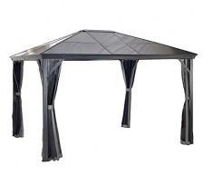 Aluminium Pavillon Überdachung Gazebo Verona 10x10 mit Doppelstegplatten // 298x298 cm (BxT) // Gartenlaube mit Doppelstegdach von Sojag