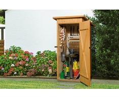 Weka Gartenhaus, Garten-/Terrassenschrank 361 Größe 1 Flachdach, 14 mm, ET, braun, 100x105x195 cm, 361.0908.30400