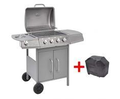 mewmewcat BBQ Gasgrill Barbecue-Grill Grillwagen Gas-Grill 4 Brenner +1 Seitenbrenner Silbern 104 x 55,4 x 97,7 cm