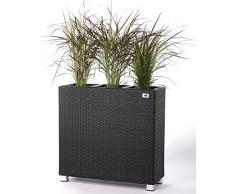 GARTENFREUDE Raumteiler Pflanzkübel Pflanzgefäße Blumenkübel Blumentopf für Blumen etc. Polyrattan 76x26x73cm, anthrazit, 3x Kunststoff-Einsätze, mit Aluminiun-Füßen