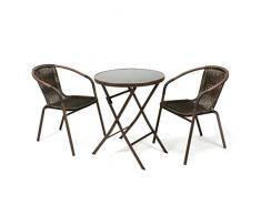 Nexos Bistroset Balkonset Rattanset – Sitzgarnitur aus Glastisch & Bistrostuhl – Stahlgestell Polyrattan Glasplatte – robust stapelbar – Dunkelbraun schwarz