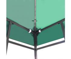Pavillondach Pavillon Ersatzdach für Pavillons | 310 g/m² 3x3 m Grün | Gartenzubehör, wetterfest, wasserabweisend, imprägniert, Zeitloses Design, naturfarben | für Pavillon Faltpavillon