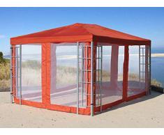 QUICK STAR Rank Pavillon Set 3x4m Metall Garten Partyzelt Terra mit 4 Seitenteilen Moskitonetz