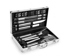 Grannys Kitchen Edelstahl Grillbesteck Set 19-teilig im Aluminium Koffer - BBQ Grillset Grillwerkzeug für den Grill, Besteck und Werkzeuge Zubehör
