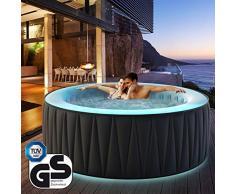 Miweba MSpa aufblasbarer Whirlpool Aurora D-AU06 Outdoor - LED optional - für 6 Personen - 138 Düsen - 204 x 70 cm - Tüv GS geprüft - 930 Liter - Pool aufblasbar (Delight Aurora 6 Personen)