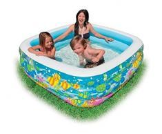 Aquarium Pool ca. 159 x 159 cm Höhe ca. 50 cm Planschbecken Badespaß Schwimmbad für Kleinkinder Pool Planschbecken Kinderpool Babypool Baby Pool Schwimmingpool Kinderplanschbecken ideal für den Garten , Terrasse , Urlaub ,