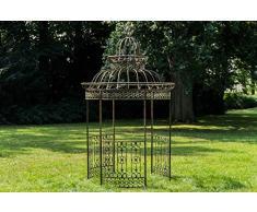 CLP Garten-Pavillon Crown, Pavillion mit Seitenwänden, rund Ø 2 Meter, Höhe 340 cm, stabiles Eisen (Metall), stilvolles Design Bronze