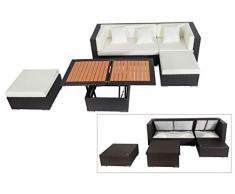 OUTFLEXX Loungemöbel-Set, braun aus Polyrattan-Geflecht, Loungeecke für 5 Personen, wasserfeste Kissenbox, inkl. Loungetisch