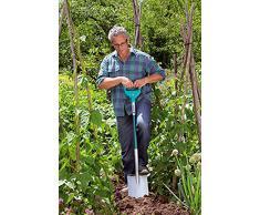 GARDENA Terraline Spitz-Spaten: Gartenspaten mit Beschichtung zum Umgraben und Ausheben, mit Trittsteg und ergonomischem Stiel, D-Griff (3773-24)