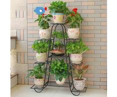 Dittzz Blumentreppe Metall, Blumenständer Multilayer Pflanzentreppe für Innen-Balkon Wohzimmer Outdoor Garten Deko, 90 x 25 x 120cm (Schwarz)