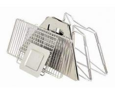 QJJML Notebook-Klappgrill - Tragbarer Picknick-Grill Mit Verchromtem Grillrost (Silber),31.5×31.5×21.5CM