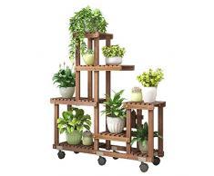 GMIN Bodenblumenständer |Mehrschichtige Montiert Wohnzimmer Terrassenpflanze Stehen |Blumentopf Anzeigehalter Mit Rollen |Platzsparend, Starke Belastbarkeit (89x25x76cm)