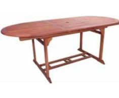 VARILANDO Gartentisch Steward oval und ausziehbar Eukalyptus geölt Holztisch