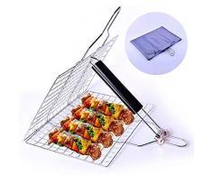 FANPING Outdoor Barbecue Grille Korb, beweglicher Edelstahl BBQ Grill Korb Roast for Fisch, Gemüse, Steak, Garnele, Stiel-Halter-Grill-Rack mit Easy-Tragetasche