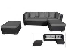 OUTFLEXX Loungemöbel-Set, schwarz aus Polyrattan-Geflecht, Loungeecke für 5 Personen, wasserfeste Kissenbox, Lounge Möbel