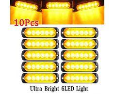 10 Stück 6 LED 12 Auto LKW Warnung Vorsicht Notfallkonstruktion Wasserdichtes Leuchtfeuer Blitz Vorsicht Blitzstoßstange Grill Heck Arbeitslichtleiste