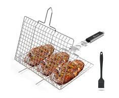WolfWise Grillkorb Fischbräter, Gemüsekorb Burger Grillwender, Grillrost Grill Basket mit Abnehmbarem Griff, aus 430 Edelstahl, Rostfrei,L