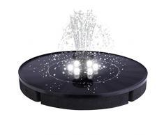 Solarbrunnen-Runde Form Solarbrunnen mit Licht, Solar Springbrunnen, Solar Teichpumpe Outdoor Wasserpumpe mit 5V Brunnen für Gartenteich Vogel-Bad Fisch-Behälter Kleiner Teich (Schwarz)
