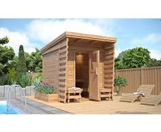 ISIDOR Outdoorsauna Saunakabine Sauna 2x2m Massivholz Pultdach (ohne HARVIA BC80)