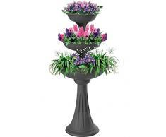Bama Spa Blumenständer mit 3 Pflanzschalen Blumen Pflanz Säule Treppe Schale Kräuter Topf Grau