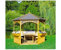 Pavillon Palma mit Holzdach u. Dachpappe mit/ohne Möbel Holzpavillon, Ausstattung:ohne Möbel
