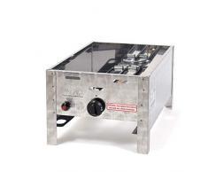 Gasgrill 4 kW fahrbar mit Grillrost und Abstellplatten 1-flammig Gasgrill Grill Gastrobräter Profigrill Verein