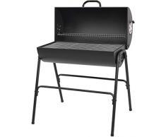 Holzkohlegrill Milton von EL Fuego® Grillfass Grill BBQ Grillwagen Barbecue, inkl. Warmhalterost (ganze Breite), mit seperatem Kohlenrost, 2 justierbare Lufteinlässe AY 580