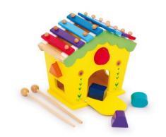 """Klang- und Spielhaus """"Dodoo"""" aus Holz, mit Xylophon-Dach mit zwei Holzstäben und 5 Steckklötzen, fördert die Formerkennung und Motorik, für Kinder ab 18 Monaten"""