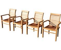 ASS 4Stk ECHT Teak Design Gartensessel Gartenstuhl Sessel Holzsessel Gartenmöbel Holz sehr robust Modell: 4erJAV-Alpen von
