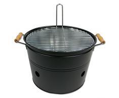 Grilleimer BBQ-Bucket, Eisen, Mattschwarz, Ø 33 x 24 cm, Holzkohlegrill Campinggrill Balkongrill Outdoorgrill Minigrill