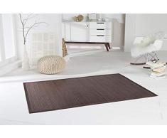 DE-COmmerce Bambusteppich WENGE I Küchenteppich Bettumrandung Läufer Bettvorleger Holzteppich Vorleger I Hochwertiger Teppich Wohnzimmer dunkelbraun 12 Maße I XXL Bordüre 90 x 160 cm