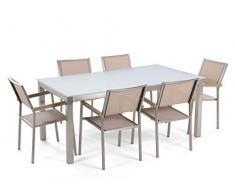 Gartenmöbelset Tisch aus Sicherheitsglas weiß 6 Stühle in Beige 180 cm Grosseto
