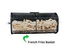 Onlyfire Universal drehbar Grillkorb Erdnuss Bohnen Pommes frites Korb passt für jeden Gas-Grill Drehspieß