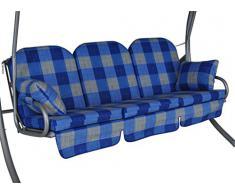 Angerer Deluxe Schaukelauflage 3-Sitzig Design Dublin blau