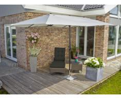 greemotion Sonnenschirm Luna in Weiß - Marktschirm rechteckig für Balkon und Terrasse - Balkonschirm XXL mit Kurbel - Gartenschirm Outdoor wasserdicht - Sonnenschutz