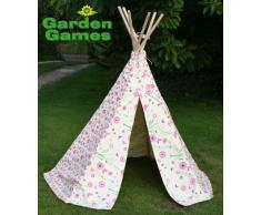 Tipi Spielzelt für Kinder Wigwam Spiel-Zelt, Baumwolle Segeltuch Teepee Kinderzelt mit Rosa Blumen und Schmetterlingen, Garden Games 3041