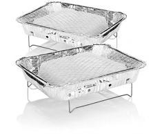 com-four® 2X Einweggrill - Handlicher Einmalgrill mit Kohle und Anzündhilfe - Grill für Wandern, BBQ, Picknick, Camping, Strand