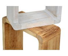 ts-ideen 3er Set Lounge Cube Regal Landhaus Stil Wandregal Hängeregal Massivholz in Hellbraun, Dunkelbraun und Shabby Weiß