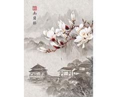 Bebeehome Adult Puzzle Spielzeug 1000 Stück Chinesische Tinte Malerei Pavillon Und Blume Holz Puzzle Kinder Spielzeug