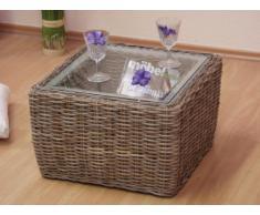 moebel direkt online Beistelltisch _ Rattantisch _ Tisch mit Glasplatte _ Sicherheitsglas Kubu grau