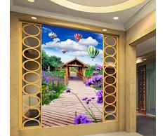 Wandbilder Fototapete Holzbrücke Lavendel Holzpavillon 3D Stereo Eingang Wandbild Wohnzimmer Restaurant Tapete-450X300Cm,wallpaper