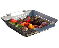 Bruzzzler Grill-Korb aus Edelstahl, für Grill und Backofen, bräunt Fleisch, Fisch und Gemüse gleichmäßig, einfache Reinigung in der Spülmaschine, 28 x 20,5 x 5,5 cm