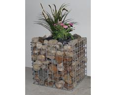 Gabionen Blumensäule eckig, Grundfläche 42 x 42 cm Maschenweite 5 x 5 cm, inklusive Pflanztopf feuerverzinkt (Höhe 42 cm)