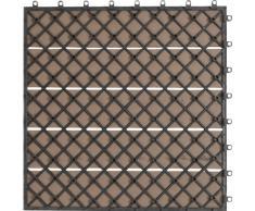 EVERFLOOR WPC Bambusholz/Kunststoff Terrassenfliesen Bodenfliese 6-er Set, 0.96 m², 40 x 40 cm, braun, leicht verlegbar, wetterfest