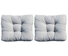 Ambientehome 2er Set Loungekissen, grau, ca 80 x 70 x 10 cm, Polsterkissen Polyrattan Lounge Ersatzkissen