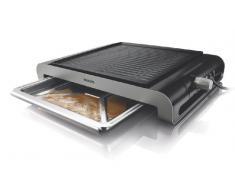 Philips HD4417/20 Tischgrill (verschiedene Temperaturstufen, extradicke Grillplatte, 2000 Watt) schwarz/edelstahl