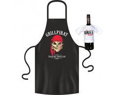 Grill und Kochschürze - Grillpirat, Finger weg vom Fleisch! Im Set mit einem Mini T-Shirt it`s Grill Time!